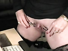 Granny with penit clit does weird to her love tunnel