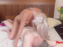 Young Blonde MILF Orgasms Hard While Riding Old Cameraman