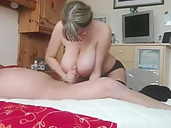 Nerdy milf with sex lingerie pleases her man with a blowjob, handjob and...