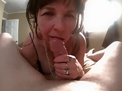 Mature gets a big load on her ass and has massive orgasm