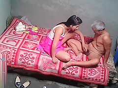 Asian Grandpa With Sexy Prostitute