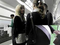 Blond in dark and white costume upskirt