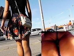 Spy following sweetheart that flashes upskirt