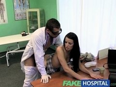 Fake Hospital Stiff neck followed by a big stiff cock as fucked on...
