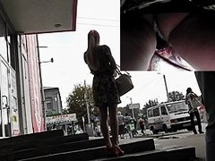 Street candid upskirt of real non-professional legal age teenager