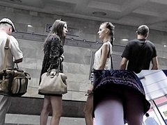 Hot gals on underground upskirt movie scene