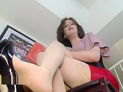Why are you on the floor stepson? Mrs Mischief upskirt milf stepmom pov