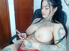swallow all of it with her huge dick dildo