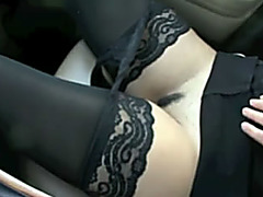 Hot non-professional ex girlfriend showing her hirsute exposed cunt in car