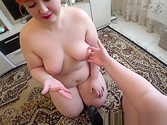 Milf fucked her fat girlfriend with big booty, lesbian doggystyle POV.