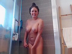 Filming my step mom in the shower
